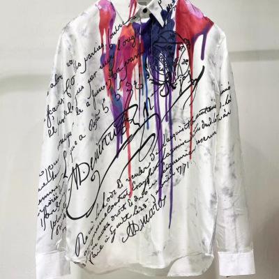 Berluti伯尔鲁帝衬衫 春秋款男士明星同款长袖翻领艺术签名泼墨涂鸦衬衣-8