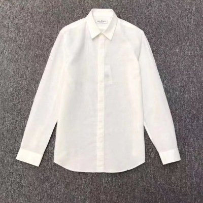 Salvatore Ferragamo 菲拉格慕衬衫 男士亚麻商务必备款长袖衬衣-5