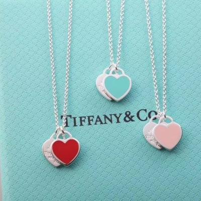 Tiffany蒂芙尼双心形珐琅蓝心、粉心爱心吊坠经典双桃心项链链长40