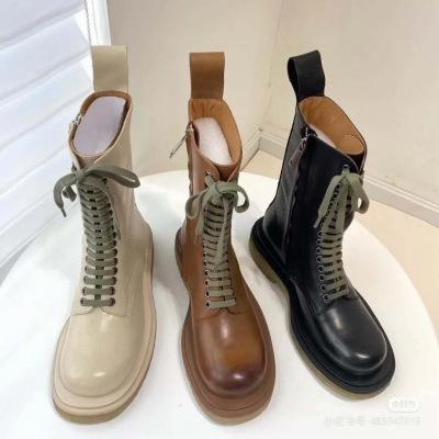 BV新款网红马丁靴2020秋冬真皮系带粗跟侧拉链平底中筒靴女