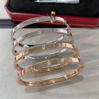 CARTIER卡地亚女士LOVE系列窄版镶嵌6钻玫瑰金白金手镯