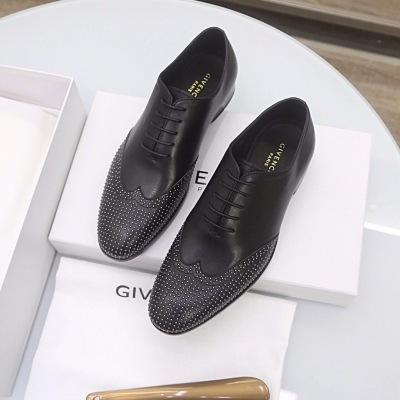 Givenchy\纪梵希新款时尚铆钉系带百搭商务休闲增高亮面真皮皮鞋 男鞋