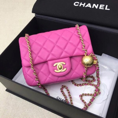 Chanel香奈儿女包20新款金珠球woc包 菱格翻盖方胖子单肩斜挎包 BV-GDJP