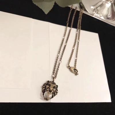 Gucci古驰中长款项链狮子头珍珠长链项链