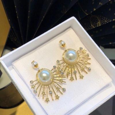 Dior迪奥经典太阳花系列烟花星星珍珠耳钉