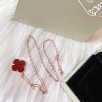 VCA梵克雅宝四叶草天然红玛瑙项链链长90cm K黄金 玫瑰金毛衣链