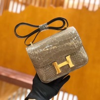 Hermes/爱马仕 Constance 经典新款小方包 康康包 单肩斜挎女包 AMS-GR
