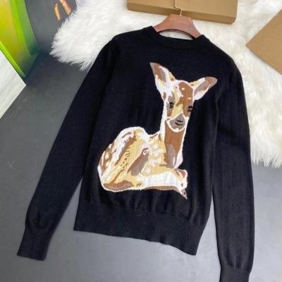 BURBERRY /巴宝莉针织衫 女款套头圆领小鹿图案毛衣-13