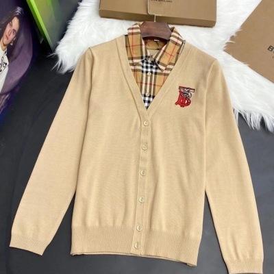 Burberry巴宝莉针织衫  秋冬女士撞色衬衫假两件毛衣-13