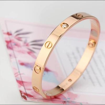 Cartier卡地亚LOVE系列18K玫瑰金镶4钻手镯