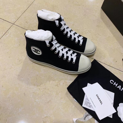 Chanel/香奈儿Vantage系列女士休闲帆布鞋 系带高帮运动鞋