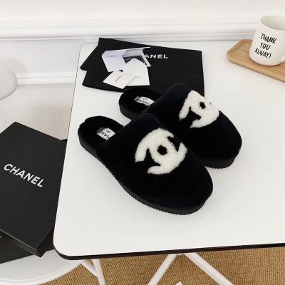 Chanel\香奈儿2020新款女士羊皮毛一体拖鞋 冬季居家必备
