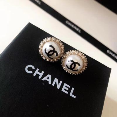 Chanel香奈儿太阳花珍珠耳钉黑色双C精致小巧日常百搭