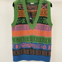 DIOR 迪奥马甲2020迈阿密秋术冬大秀系列 针织坎肩艺签名logo针织毛衣 男女同款9-111am