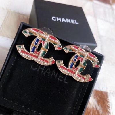 Chanel香奈儿彩色滴油 经典双C时尚耳钉格纹图案耳坠
