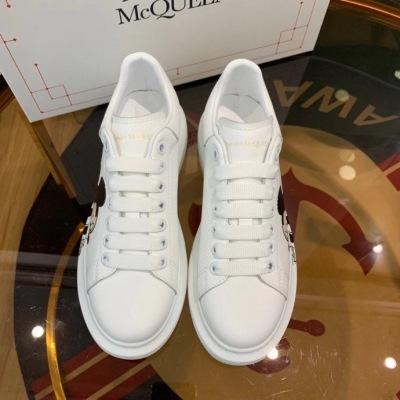 Mcqueen\麦昆小白鞋 新款米奇印花 真皮厚底松糕鞋休闲情侣鞋