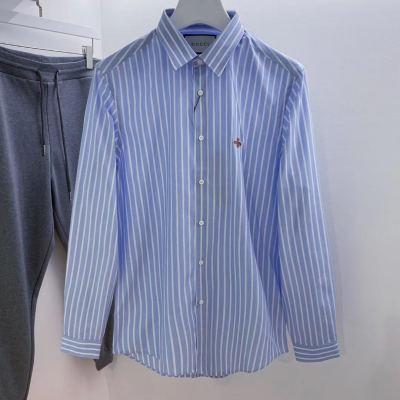 GUCCI 古驰衬衫 男装蓝色蜜蜂刺绣棉质男士商务休闲长袖衬衣13-jwr