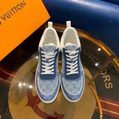 LV/路易威登圆头系带拼色老花低帮平底板鞋男士运动鞋