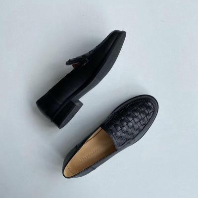 Freda Salvador休闲平底单鞋 英伦风小皮鞋 真皮手工编织情侣乐福鞋