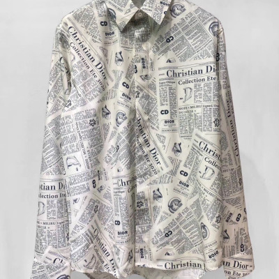 Dior/迪奥满身字母LOGO印花图案男女同款长袖防晒衬衫立领上衣2-111am