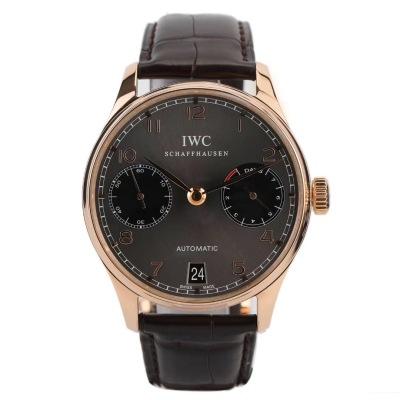IWC万国表葡萄牙系列18K玫瑰金自动机械男表型号:IW500702   表径:42.3mm   功能:日期显示  七日链动储