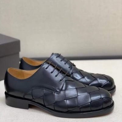 Bottega Veneta\BV宝缇嘉新款男士编织黑色全皮包边鲁彻尔鞋 皮鞋