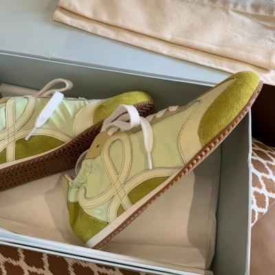 Loewe/罗意威2020新款芭蕾舞鞋绒面拼皮阿甘鞋/休闲鞋