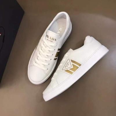 Prada\普拉达男士三角标休闲板鞋小白鞋 系带百搭皮革运动鞋