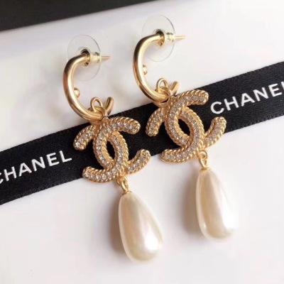 Chanel香奈儿 经典双C水钻水滴珍珠时尚耳钉耳坠