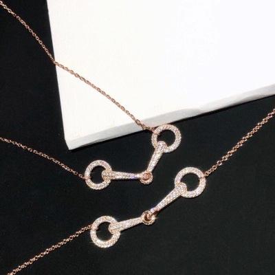 HERMES爱马仕双环时尚满钻玫瑰金项链