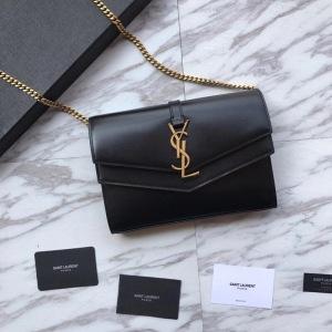 Saint Laurent /圣罗兰 黑色牛皮时尚信封包斜挎包 单肩斜挎链条包 SLL-X