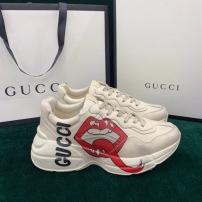 Gucci/古驰经典款男士休闲老爹鞋 厚底嘴唇款情侣运动鞋
