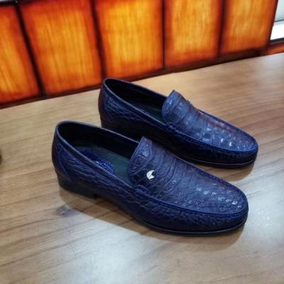 新款史蒂芬鳄鱼皮鞋 商务休闲豆豆鞋