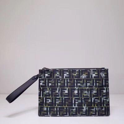 FENDI/芬迪 2020春夏黑色拼色迷彩印花双F字母时尚百搭男士手拿包潮流信封包夹包 FD-MD3