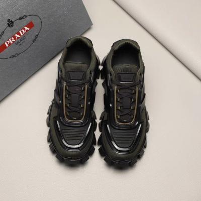 Prada/普拉达男款针织透气机器人运动鞋 男士厚底休闲鞋跑步鞋