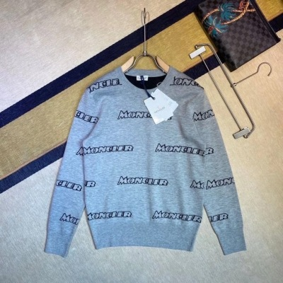 Moncler 蒙口针织衫 秋冬系列满幅logo徽章男士长袖圆领套头毛衣-2