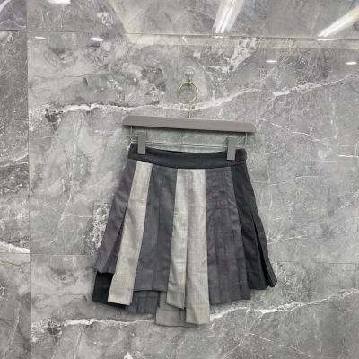 TB汤姆布朗短裙  秋冬女士羊毛灰白拼接半裙-12