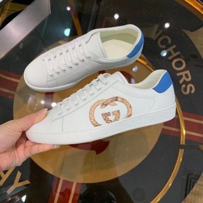Gucci\古驰2020新款品牌经典低帮运动鞋 可脚踩两穿 撞色皮革 双G贴饰情侣鞋