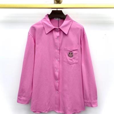 Loewe罗意威衬衫 早秋款女士粉色笑脸翻领衬衣-13