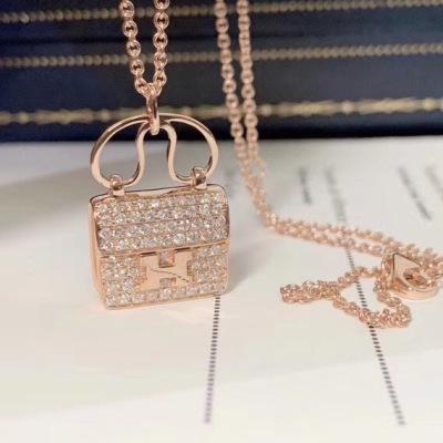 Hermes爱马仕 18K玫瑰金 白金 H字母满钻包包女士项链锁骨链