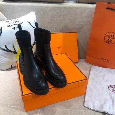 Herms\爱马仕秋冬女士短靴2020最新款牛皮大底袜子靴高跟女靴