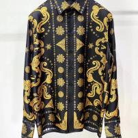 versace范思哲衬衫 黑金巴洛克真丝印花长袖衬衣-8