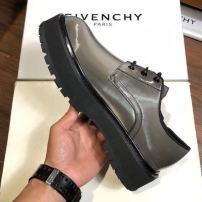 Givenchy\纪梵希春夏新款男士黑色漆皮logo厚底系带低帮德比皮鞋