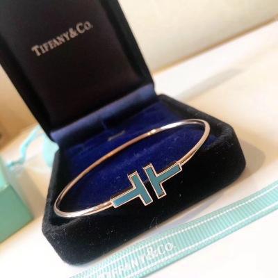 Tiffany 蒂芙尼 最新T系列 绿松石 双T开口手镯